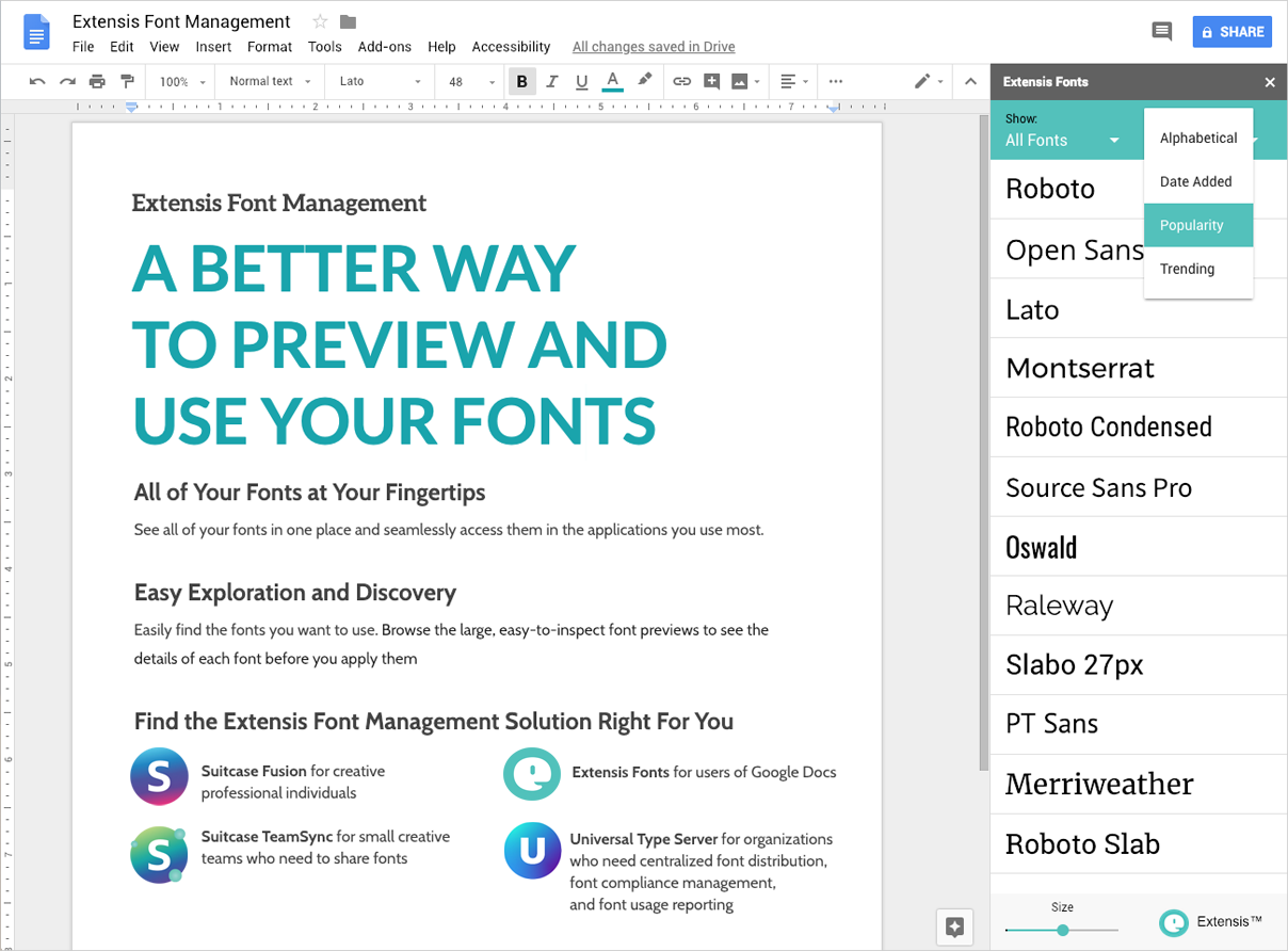 Fonts for Google Docs